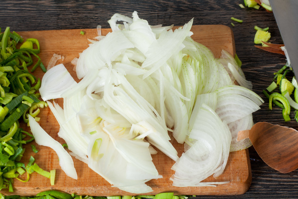 Cut the onions for Leek and Potato Soup