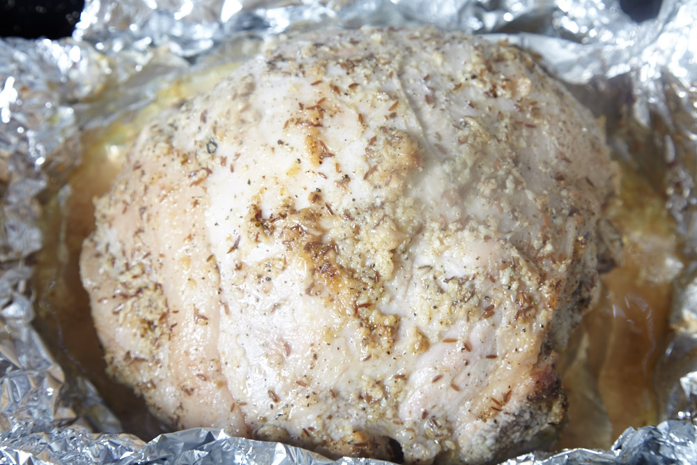 Open the 'envelope' and increase the temperature for cuban roast pork shoulder