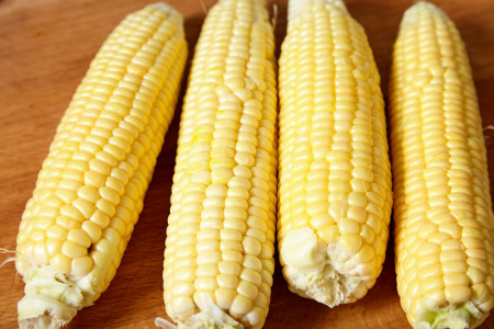 Remove the corn 'hair' for mexican corn salad