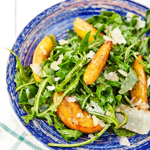 Arugula Salad with Caramelized Peaches easy to make step-by-step recipe