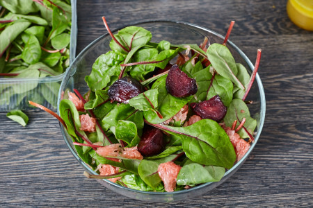 Mix with spinach leaves for beetroot and spinach salad with caramelized nuts and citrus vinaigrette dressing