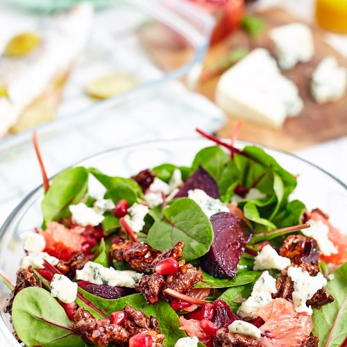 Beetroot and Spinach Salad with Caramelized Nuts and Citrus Vinaigrette Dressing easy to make step-by-step recipe