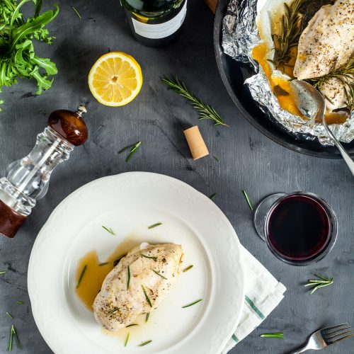 15 minute chicken breasts with rosemary and spinach in the foil easy to make step-by-step recipe