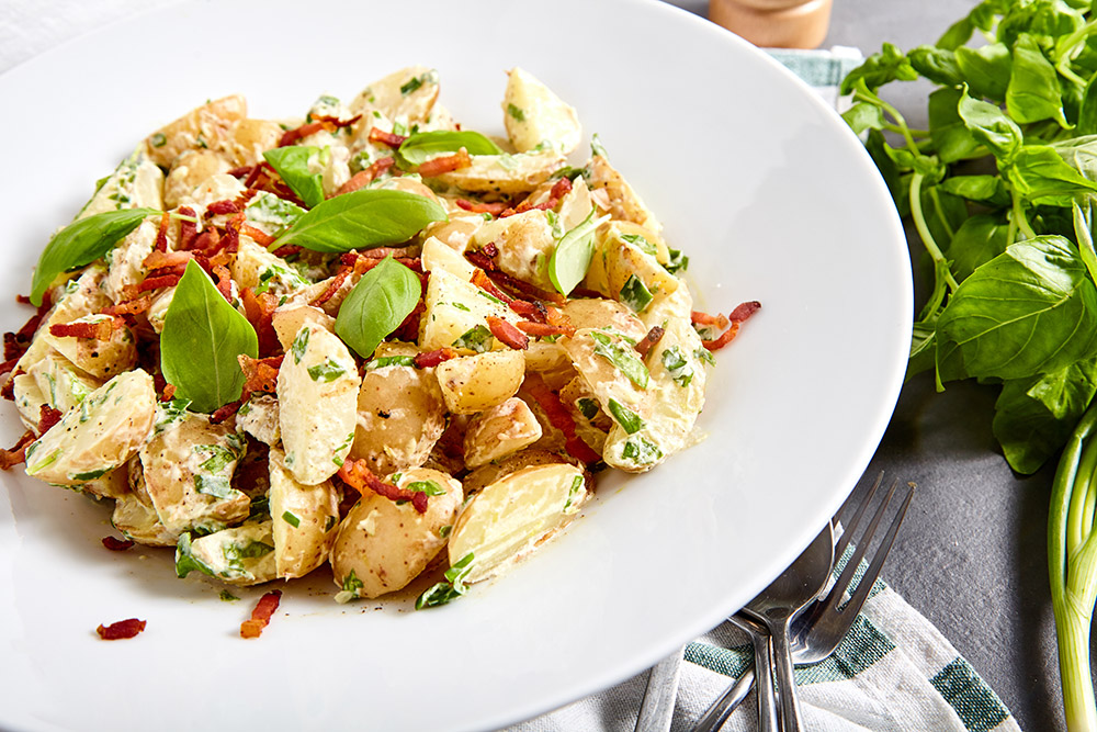Serve while warm jamie oliver's potato salad with a bacon