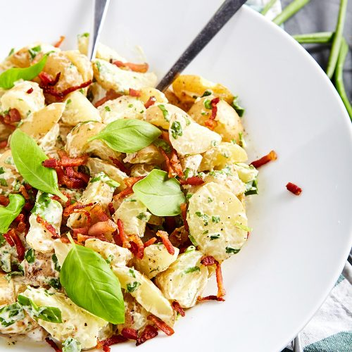 Jamie Oliver's Potato Salad with a Bacon easy to make step-by-step recipe