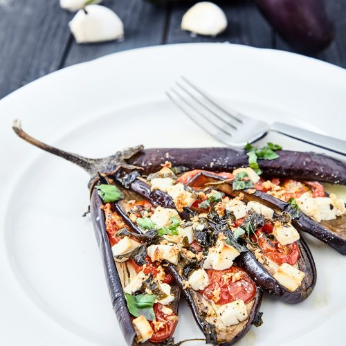Fan Shaped Baked Eggplants with Tomatoes and Feta Cheese easy to make step-by-step recipe