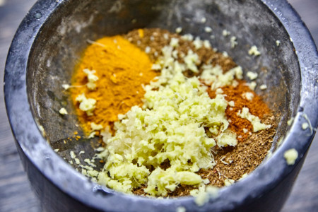 Add garlic, chili pepper, turmeric and ginger for Gordon Ramsay's vegetable curry