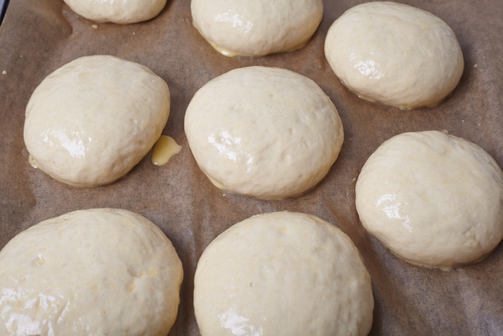 Bake the rolls for 15 minutes for perfect hamburger rolls