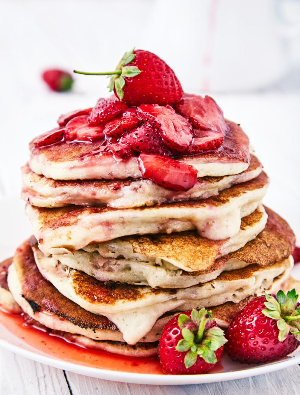 Pancakes with a Strawberry Sauce + Dry Mixture Recipe easy to make step-by-step recipe
