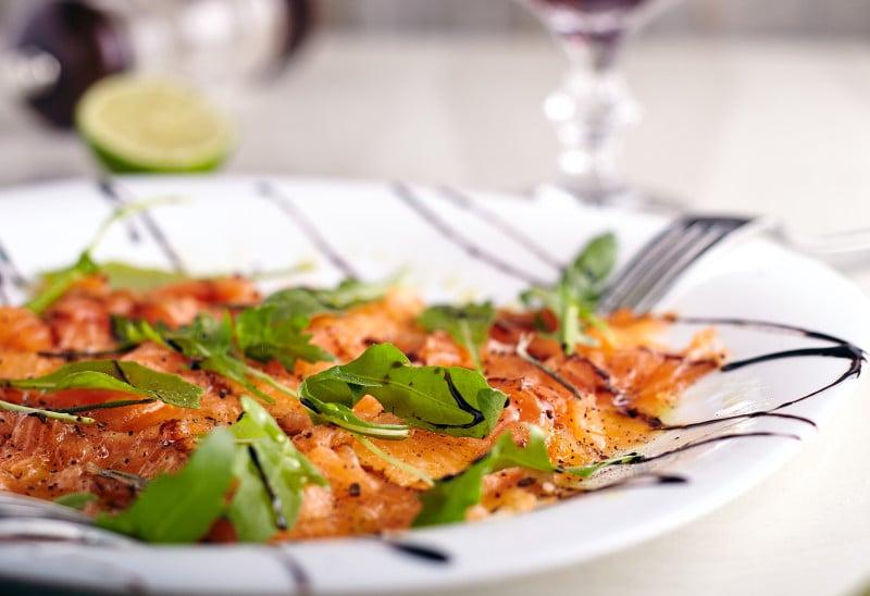 Serve salmon carpaccio with a melon