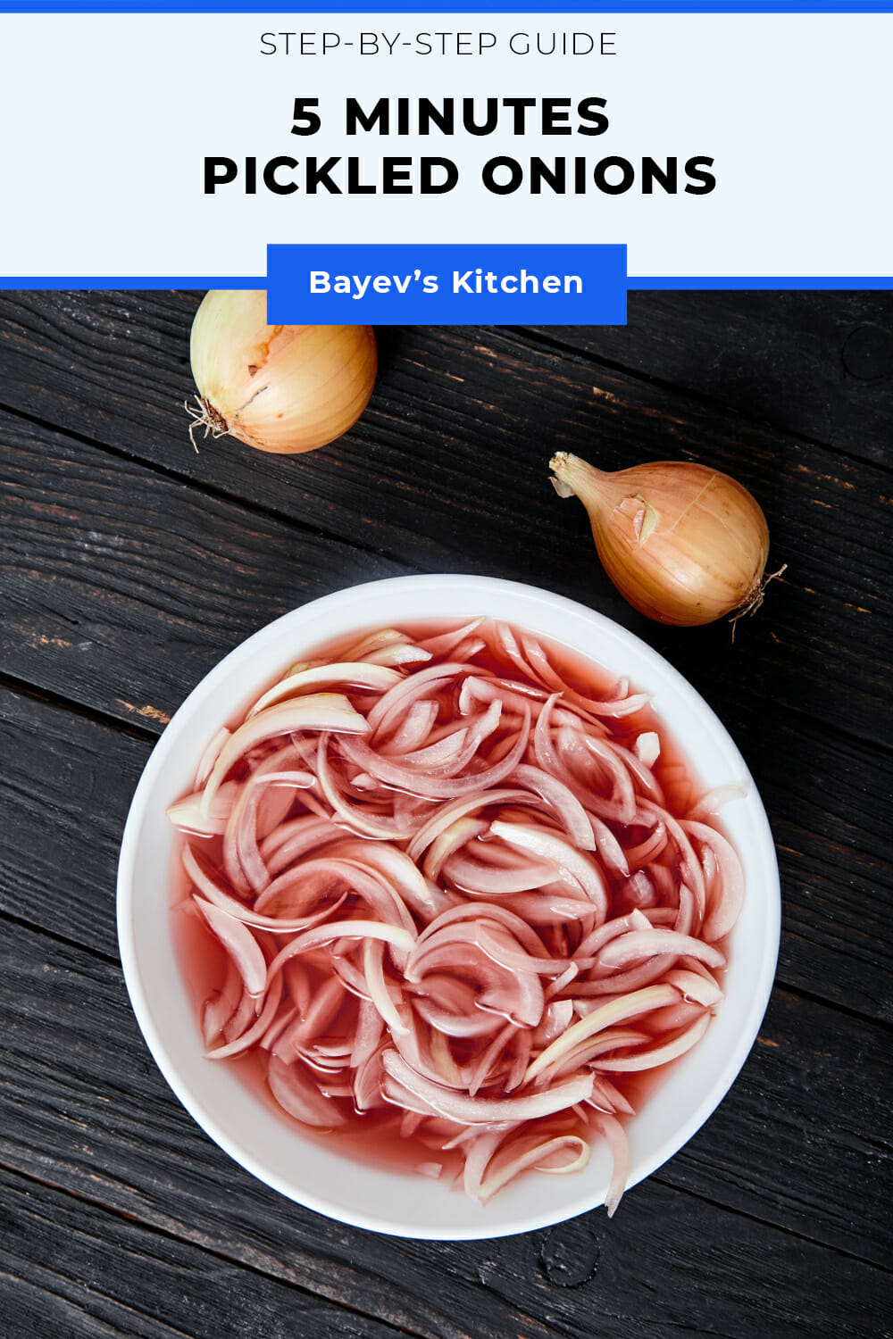 This recipe can hardly be named as a recipe. Only 2 ingredients, that you just need to mix. That's why I'll just go into the detail.  Firstly, it's a fast recipe of pickled onions, so here would be no extra manipulations such as washing, warming up the marinade, and others.  Secondly, this is a minimalistic recipe of pickled onions, so we don't add anything except onions and vinegar. How can you use these onions later, you'll ask? As you please! Add it to salads, hamburgers, sandwiches, and even serve as a snack!