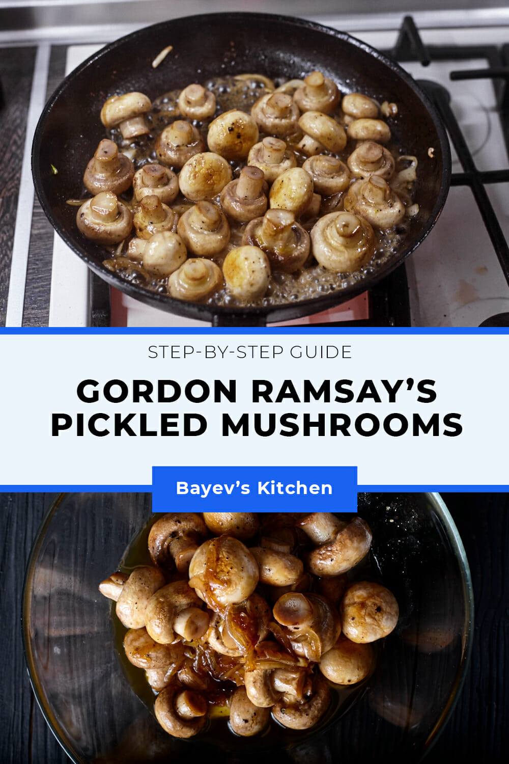 This recipe is a simplified version of Gordon Ramsay's dish. If you're not a fan of pickled mushrooms in jars because of their intense vinegar smell, you should certainly try this recipe. The mushrooms turn out very gentle, a bit sweet but with little sourness.  You can serve them at once while hot, but of course, it's better to let them steep: from a few hours to 4 days. It's very convenient when you have some sort of feast - prepare them a few days earlier and leave in the fridge.  This way they'll have a better taste and secondly, there will be less of a fuss on the party day. And also if somebody arrives earlier, you could treat one with this snack.