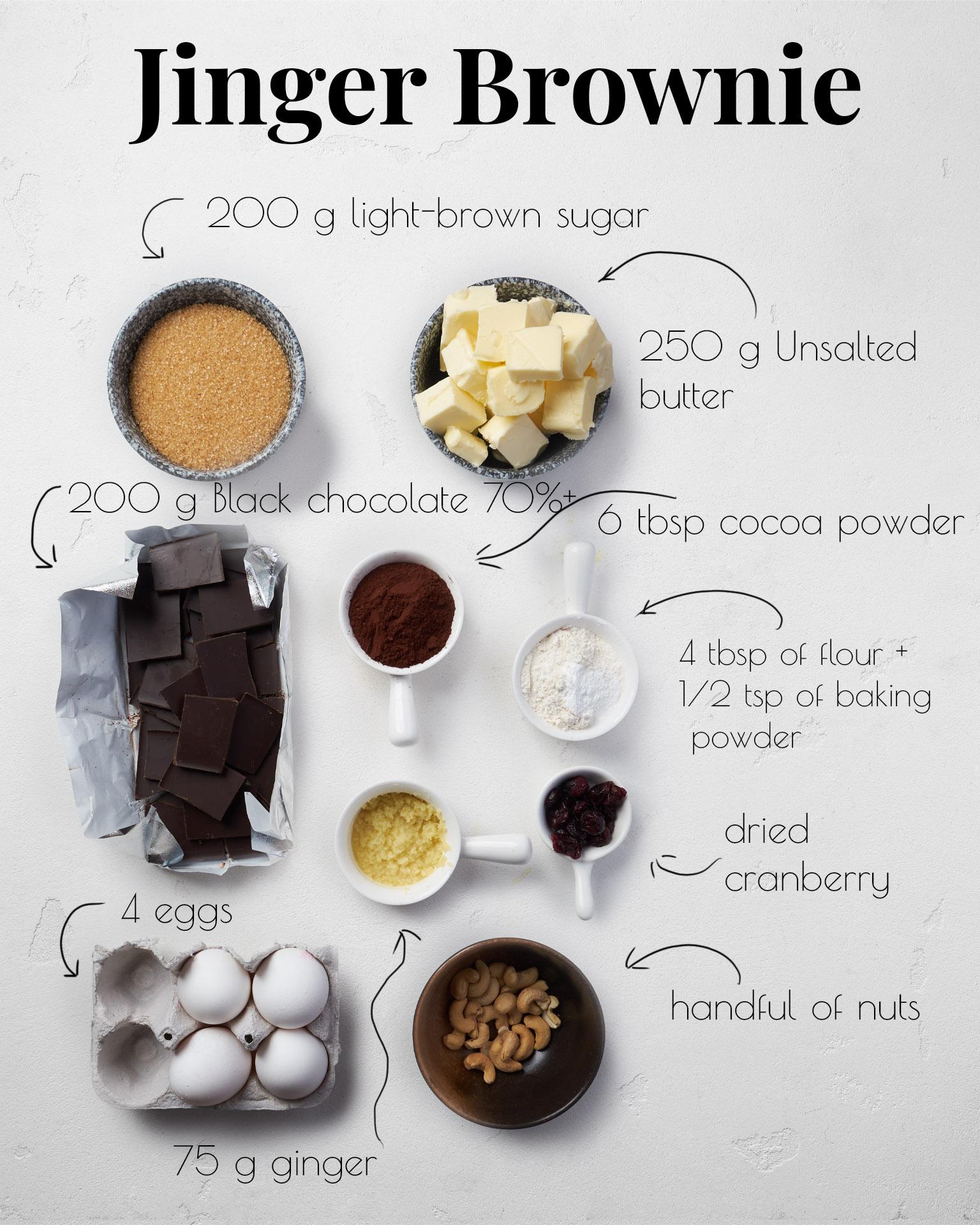 Ginger Brownie Ingredient List