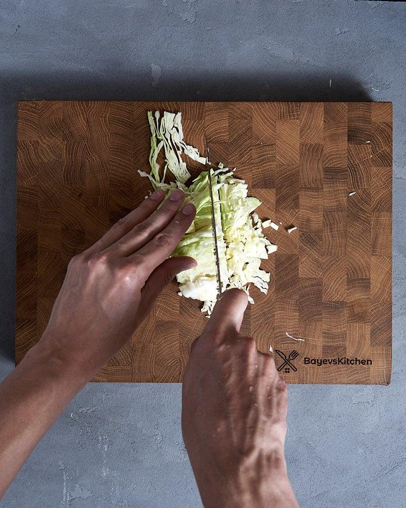 Рубка - разрезаем полосы на половинки и мелко шинкуем