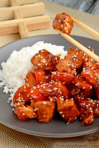#17 Chicken in sweet and sour sauce with bell peppers and carrots. Russianfood's recipe | 30 chicken fillet recipe ideas