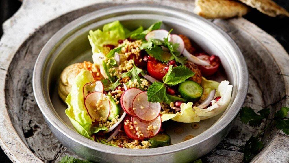 #13 Tabouleh salad with falafel, hummus and crispy pita.