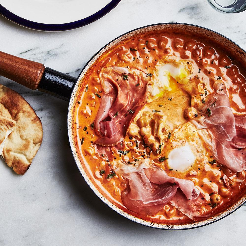 #28 Prosciutto with creamy chickpeas and eggs.