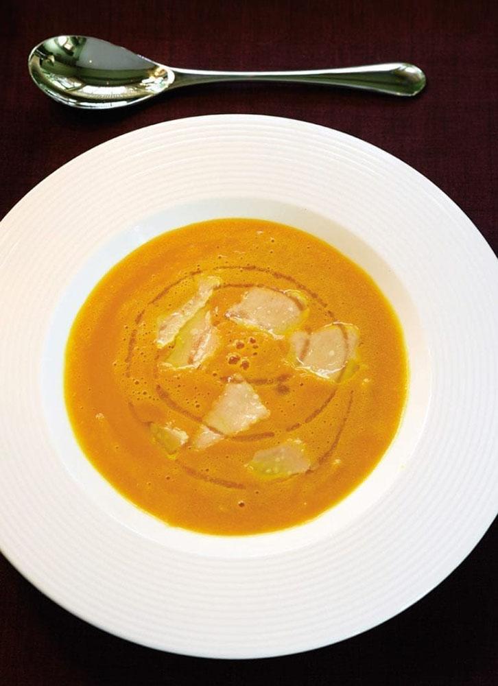 #28 Pumpkin soup with parmesan.