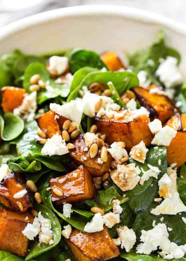 #6. Roasted pumpkin, spinach and feta salad.