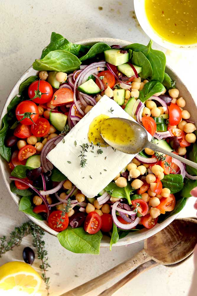#9 Greek salad with chickpeas and spinach.