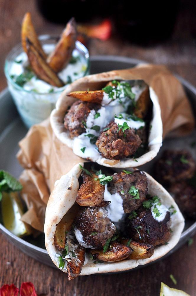 #13  Lamb meatballs in pita bread.
