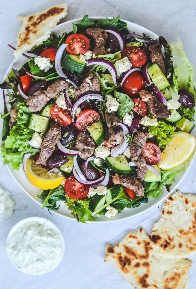 #2 Greek salad with lamb and zajaki.