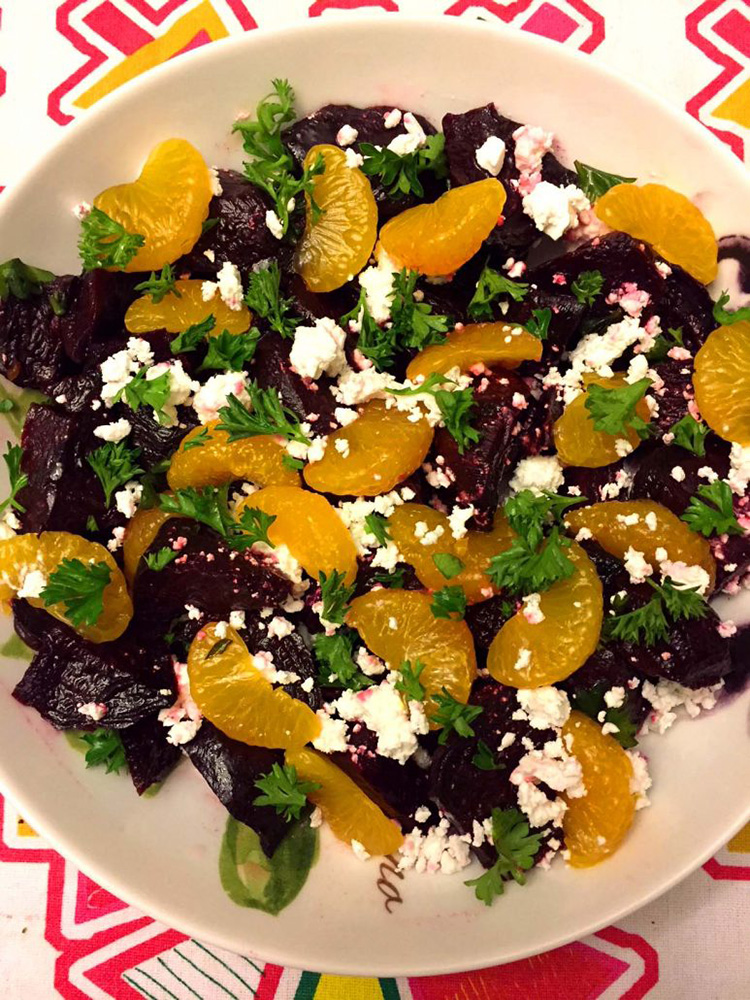 #5 Roaste beet salad with feta cheese and oranges.