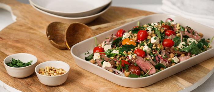 #5 Salad with chickpeas, lamb and feta cheese.