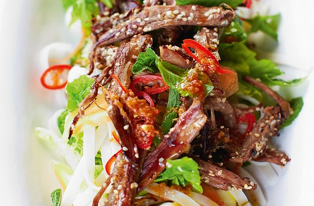 #6  Lamb salad with chili and mint.